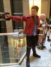 The best thing about Dragon Con, I take a photo of a Star Lord and get an elevator photo bomb with a Dalek and a Cyberman.