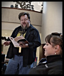 Deal was, buy John Hartness a beer, he will read poetry. My dear friend Robyne did just that. :)