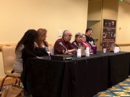 Point of View Writing Panel (Left to Right): Michelle Hodkin, Linda Robertson, Steve Saffel, Nancy Knight, Debra Dixon, John Hartness
