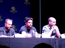 CW's Arrow Panel! We were seated only six rows back. Left to Right: David Nykl, Manu Bennett (Slade Wilson), Paul Blackthorn (Det. Lance)